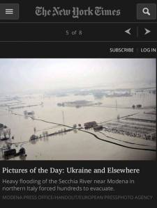 "New York Times Blog ""Lens""  featuring the Modena flood"